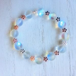NEW!! Synthetic Opal Beaded Stretch Bracelet